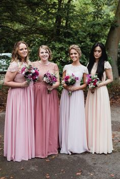 Take a look of Lauren`s girls in mix`n match bridesmaid dresses! These dresses are all from FHFH!   Bridesmaid dresses they chose: http://www.forherandforhim.com/lace-and-chiffon-dress_3344.html (English Rose, Dusty Rose, Powder Pink,Blush)  Lauren`s review: Just wanted to drop you a note to say thank you very much for making my bridesmaid's dresses. They were really beautiful and the girls absolutely loved them! I've attached a few photos of the girls onour big day. Hope you like them.
