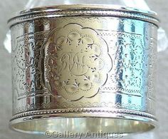 antique Victorian 925 Solid Sterling Silver Floral Chased Napkin Ring by Martin, Hall and Co, Hallmarked for Sheffield, 1889 (ref: 3148)