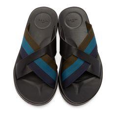 Paul Smith Jeans - Black Striped Gain Sandals