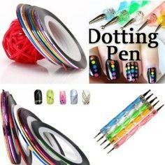 350buy 5 X 2 Way Marbleizing Dotting Pen Set for Nail Art Manicure Pedicure 10 Color Rolls Nail Art Decoration...