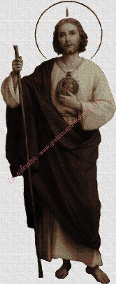 Gráfico a punto de cruz - San Judas Tadeo en sepia 30 x 74 cm