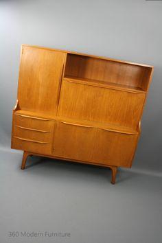 Mid Century Atel Teak Desk Wall Unit Retro Vintage Sideboard Drinks Cabinet Danish Era Tessa