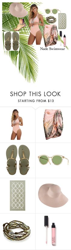 """Softly Seductive"" by jrrenner76 ❤ liked on Polyvore featuring Beach Bunny, Havaianas, Oliver Peoples, Pottery Barn, Bling Jewelry, beautiful, beach and nudeswimwear"