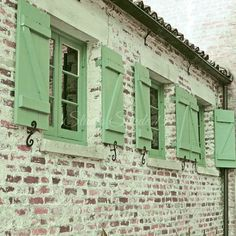 "Window Photography, Shutter Art, Cottage Architecture, Rustic Decor, Green Shutter Print, Country Brick Cottage Photo- ""Green Shutters"""