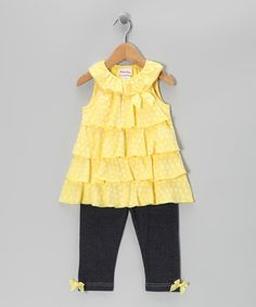 Take a look at this Yellow Tiered Tunic & Jeggings - Infant by Little Lass on #zulily today!