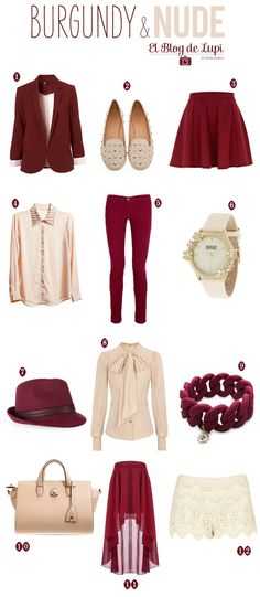 Burgundy & Nude #fashion #trend