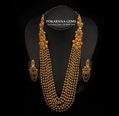 Crafted of 22 carat gold, beaded, and 7 stringed, its fine continuity is enhanced by the floral motifs. Pakistani Jewelry, Indian Wedding Jewelry, Bridal Jewelry, Indian Bridal, Diamond Jewelry, Gold Jewelry, Jewelery, Gold Necklaces, Gold Bangles