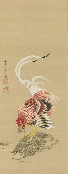 大根に鶏図.jpg (387×991) 伊藤若冲