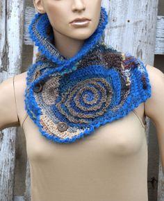 Crochet Scarf Freeform crochet chunky crochet cowl Capelet  Blue scarf Freeform roses Neck Warmer Blue Brown Grey Unique scarf button