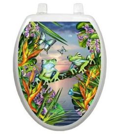 Toilet Tattoos Themes Frogs In The Moonlight Toilet Seat Decal Size: Elongated Grey Toilet Seats, Dog Toilet, Frog Tattoos, Tattoo Themes, Toilet Paper Roll Holder, Man Of The House, Window Films, Static Cling, Tree Frogs