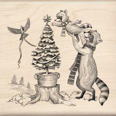 WOODLAND DECOR - Christmas Rubber Stamp - Inkadinkado Christmas animals wood mounted rubber stamp
