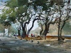 Water color by Vijay Achrekar Watercolor Trees, Watercolor Artists, Watercolor Techniques, Watercolor Landscape, Watercolor Illustration, Urban Landscape, Landscape Art, Landscape Paintings, Landscapes