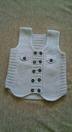 Tunus işi yelek – Knitting patterns, knitting designs, knitting for beginners. Baby Knitting Patterns, Baby Hats Knitting, Knitting For Kids, Knitting Designs, Knitting Stitches, Boys Waistcoat, Crochet Baby Cardigan, Knitted Baby Clothes, Baby Coat