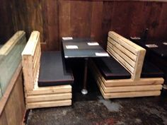 your business helper restaurant decor tips diy buffet seating www blackwh Restaurant Furniture, Restaurant Interior Design, Cafe Interior, Pallet Seating, Lounge Seating, Outdoor Seating, Pallet Bench, Bar Lounge, Restaurant Booth Seating
