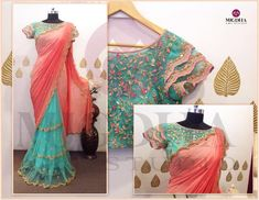 Beautiful designer sarees are back in mugdhas grab the one for your special occasions. Beautiful pink color designer saree and powder blue color designer blouse with floret lata design hand embroidery thread work. They can Customize the color and size as per your requirement.To Order  :WhatsApp: +91 8142029190 / 9010906544 . 17 January 2018