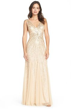 Womens Adrianna Papell Beaded Mesh Mermaid Gown Size 6 - Metallic $340.00 AT vintagedancer.com