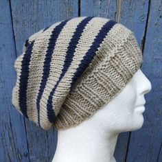 CAMPUS / KNITTING PATTERN/ Mans Striped Slouch Hat by RomeoRomeo