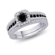 Shelby - 14K white gold, black and white diamond bridal set