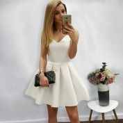 A-Line V-Neck White Satin Short Homecoming Dress with Pleats