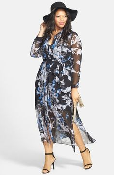 City Chic Floral Print Maxi Dress & Accessories (Plus Size) available at #Nordstrom