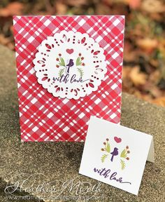 The perfect Plaid background cling stamp blends bold solid and striped lines effortlessly together for beautiful rich colorful designs! Holiday Cards, Christmas Cards, Doilies Crafts, Solid And Striped, Paradise Found, Craft Club, Masculine Cards, Stamping Up, Vintage Cards