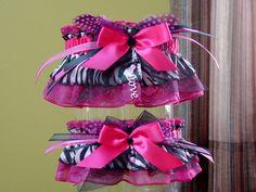Shocking Hot Pink and Black Zebra Print Wedding Garter Set @Lacey McKay Waterman
