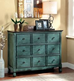 COLORFUL CHEST, BROWN & ANTIQUE GREEN FINISH CM-AC147 OROFINO COLLECTION