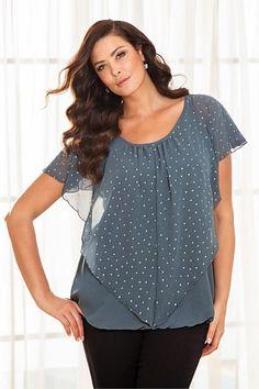 Plus Size Women's Fashion - Evans Heart Studded Blouse