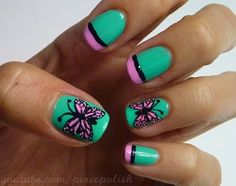 Butterfly Nail Art. Maybe without the butterflies??