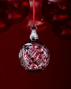 Waterford Red Cased Ball Christmas Ornament