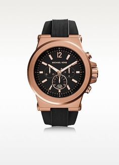 MICHAEL KORS Dylan Rose Gold Tone Stainless Steel Case And Black Silicone Strap Men'S Crono Watch. #michaelkors #dylan rose gold tone stainless steel case and blac