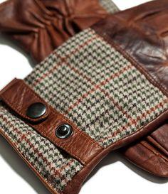 Zara hombre -  Guante piel combinado estampado  moda  man Guantes De Cuero 025966bd443