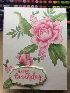 Altenew Peony Bouquet, Altenew Crisp Inks. SU! Rose Wonder sentiment, frame and die.