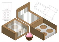 Box design boxes die cut Vectors, Photos and PSD files Cupcake Boxes, Box Cake, Cake Boxes Packaging, Cupcake Packaging, Paper Box Template, Origami Templates, Box Templates, Restaurant Flyer, Diy Gift Box