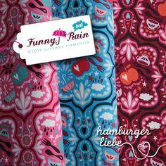 Love Kollektion Hamburger Liebe, Herbst 2014, Design Funny Rain auf Babycord, Stretchjersey und Baumwollpopeline