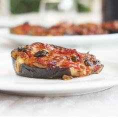Stuffed Eggplant Recipe recipe | Eggplants, tomatoes, olives and mozzarella: Italian Summertime at the table with this stuffed eggplant recipe