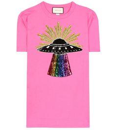 Sequinned cotton T-shirt - Gucci Shirt - Trending Gucci Shirt for sales. - - Gucci Sequinned cotton T-shirt T Shirt Gucci, Gucci Jeans, Gucci Shirts, Gucci Gucci, Vintage Tee Shirts, Vintage Jeans, Vintage Tops, Sequin Shirt, Online Shops