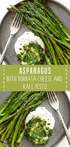 Asparagus with Burrata Cheese and Kale Pesto is a quick, easy and impressive appetizer, snack or lunch option that is ready in less than 25 minutes! Side Dishes Easy, Vegetable Side Dishes, Side Dish Recipes, Lunch Recipes, Appetizer Recipes, Beef Recipes, Cooking Recipes, Family Recipes, Easy Recipes