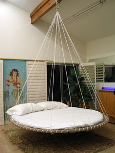 SIMPLICITY: Floating Bed - The Best Bed for better sleep. For your bedroom, outdoor bed, guest bed, daybed, canopy bed. Gentle floating motion for deep relaxation. Indoor Hammock Bed, Hammock In Bedroom, Backyard Hammock, Hammock Swing, Trampoline Bed, Trampoline Ideas, Floating Bed, Hanging Beds, Round Beds