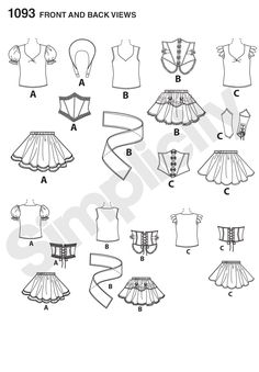 Simplicity 1093 (line art) - Misses' Cosplay Costumes | Dive into a world of fantasy and role play with these cosplay costumes designed by Andrea Schewe. Pattern includes all the pieces you need to turn your favorite fairy tale characters into fierce warriors