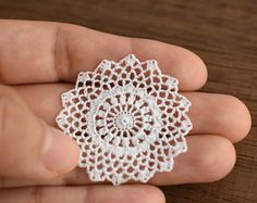 Miniature crochet round doily in white 1.5 inches - 1:12 dollhouse miniature - model #49