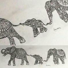 Alter so it's mumma elephant and three babies ❤️ Original Indian elephant Zentangle tattoo design By Alpinejoker. Zentangle Elephant, Henna Elephant, Mandala Elephant, Baby Tattoos, Family Tattoos, Body Art Tattoos, Sleeve Tattoos, Elephant Family Tattoo, Elephant Tattoo Design