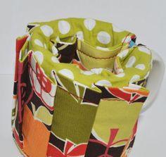 Crafty mug Organiser - Bite Me! Apple on brown fabric