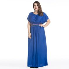 Beach Casual Women Long Dress 2017 New Style Plus Size 3 4 5 6 7 XL Solid Short  Sleeve Loose Dress Vestidos Black Blue CMC65-in Dresses from Women s ... 652e7d7c0c3f
