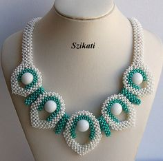 Beaded White/Turquoise Necklace Seed Bead Necklace by Szikati
