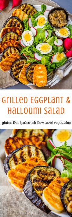 Grilled Eggplant Salad with Halloumi and Pesto Dressing (gluten free, paleo-ish, low carb, Adaptable) - meatless meal option Best Gluten Free Recipes, Paleo Recipes, Real Food Recipes, Turkey Recipes, Dinner Recipes, Eggplant Salad, Grilled Eggplant, Halloumi Salad, Pesto Salad