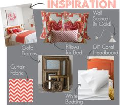 Inspiration Board: Gray + Coral Bedroom