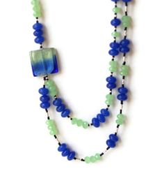 Long Double Strand Blue Green Necklace Murano Glass by ALFAdesigns, $69.99