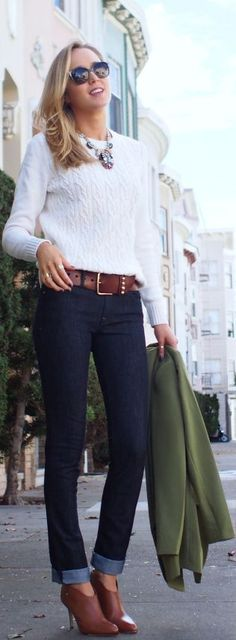 Fall / winter - cropped dark skinnies + brown wide belt + brown booties + white cable knit sweater + statement necklace