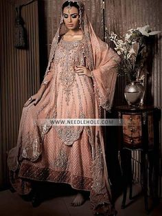 Designer Maria B bridal sharara dresses for brides and girls. Free shipping worldwide on hand embellished bridal sharara clothes beautiful wedding sharara suits online